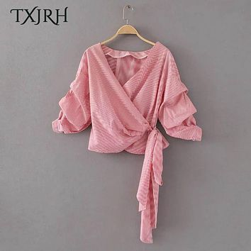 TXJRH Sweet Striped Contrast Color Long Tied Bow Blouse Deep V-Neck Pullover Cross Shirt Lolita Women Tops 2 Colors SY17-02-26