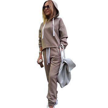 2019 Autumn Tracksuit Long Sleeve Thicken Hooded Sweatshirts 2 Piece Set Casual Sport Suit Women Tracksuit Set