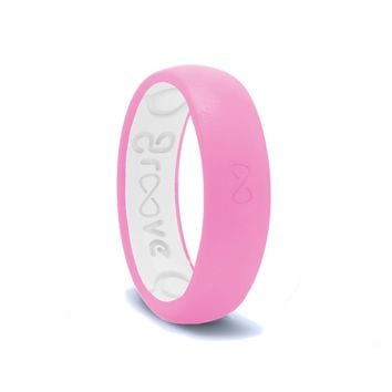 Groove Thin Silicone Ring - Punchy Pink