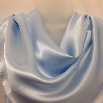 Cancer head scarf Pastel Blue Shawl, Gift for coworker, Graduation Gift for mother Satin traingle scarf, Spring Birthday Gift for Teacher