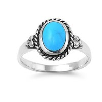 Sterling Silver 12mm Oval Turquoise Ring (Size 5 - 9)