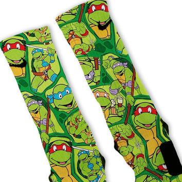 5057dc7eabc Ninja Turtles TMNT Party Custom Nike Elite Socks