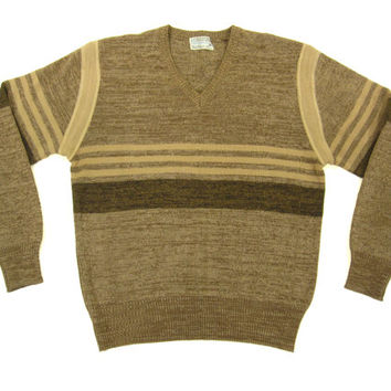 Vintage 1970's Brown Striped Sweater - Pullover V Neck Jumper - Men's Size Medium Med M