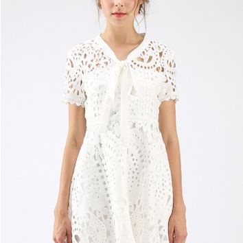 Dream A Little Dream Crochet Dress in White