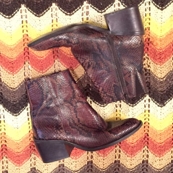 Womens Brown Snakeskin Ankle Boots 6.5 | Leather Zodiac Boots 6 | Vintage Western Cowboy boho bohemian Fall Booties Low Cut Biker Boots 80s