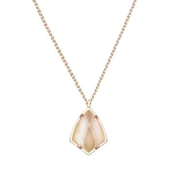 Kendra Scott Cory Brown Mother of Pearl Rose Gold Necklace