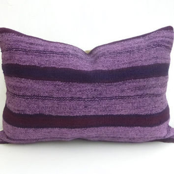 Purple Kilim Lumbar Pillow with Stripes 60x40 cm