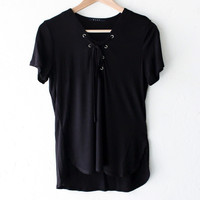 Lace Up Top - Black