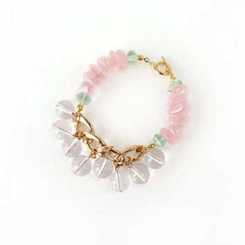 Chunky Pink Statement Bracelet Made of Rose Quartz and Fluorite Stone, Bold Fashion Jewelry