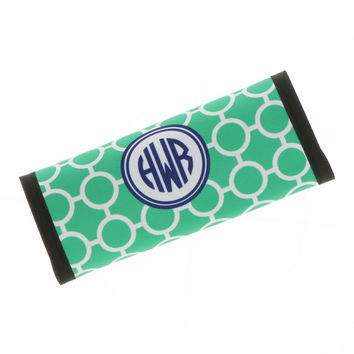 Teal Circles Luggage Handle Wrap