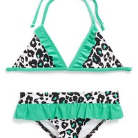 Girl's Hurley Leopard Print Two-Piece Swimsuit