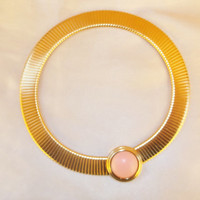 SALE Vintage Retro MONET Pink Snap Closure Gold Tone Omega Choker Necklace Jewelry Gift
