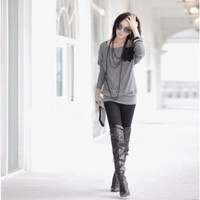New Arrival Aautumn&Winter Style  Batwing Sleeves High Elastic Loose Slim T-Shirt China Wholesale - Sammydress.com
