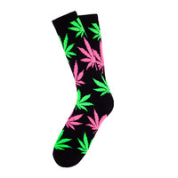 HUF Worldwide - GLOW IN THE DARK PLANTLIFE CREW SOCKS SUM14 // BLACK / GREEN / PINK