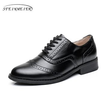 Women's Flat Oxford Genuine Leather Vintage Styling Rounded Toe Handmade Oxford Shoes