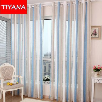 Nordic Style Blue Striped Chenille Window Tulle Curtains
