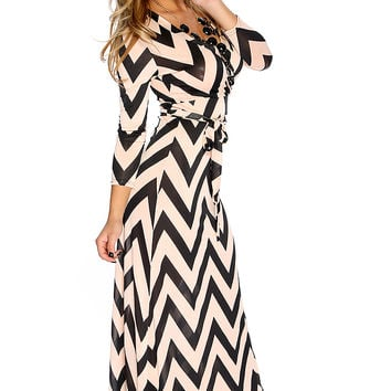 Dusty Pink Black Chevron Patter V Neck Quarter Sleeve Causal Maxi Dress