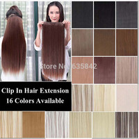 "24"" 60cm More color 5 Clips Heat Resistant Fiber Long Straight Clip in Synthetic Hair Extensions women hairpiece accessories"
