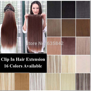 "5Clips Heat Resistant Fiber Synthetic Clip in Hair Extensions Straight 24"" 60cm 120grams More Color Women Hairpiece Accessories"