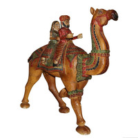 Wooden Carved Hand Painted Dhola Maru - Camel with Riders 3ft