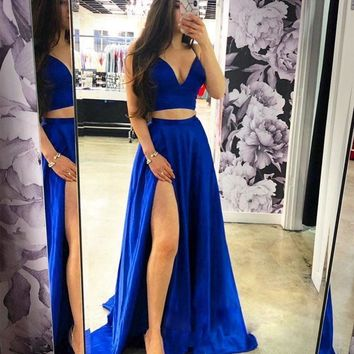 Royal Blue Two Pieces Prom Dress Evening Dress Dance Dresses Graduation School Party Gown F5285