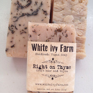 Right on Thyme Natural Vegan Soap Local Craft Beer and Thyme - Bridal Shower Gift Wedding Favor Bridesmaid Gift Handmade Vegan Beer Soap