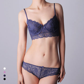 Lace Transparent Cotton Sexy Bra Set Lingerie [6756005059]