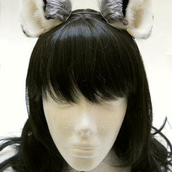 Small Silver Fox Fluffy Fur Leather Animal Ears Kitsune Wolf Fox Grey Silver Black Cosplay Furry Goth Fantasy LARP