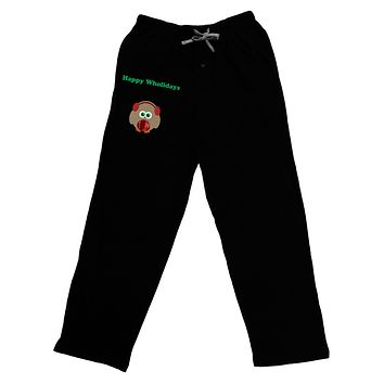 Happy Wholidays Winter Owl With Earmuffs Adult Lounge Pants - Black