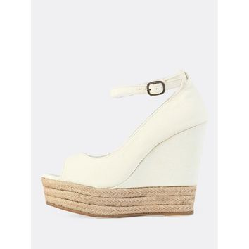 Canvas Peep Toe Wedges BEIGE
