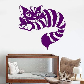 Vinyl Wall Decal Cheshire Cat Fairy Tale Fantasy Nursery Children's Playroom Stickers Unique Gift (1059ig)
