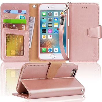 DCCKRQ5 Iphone 6s Case, iphone 6 case, Arae Apple Iphone 6 / 6s [Wrist Strap] Flip Folio [Kickstand Feature] PU leather wallet case with ID&Credit Card Pockets (rosegold)