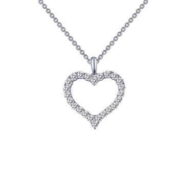 Lafonn Classic Sterling Silver Platinum Plated Lassire Simulated Diamond Necklace (0.96 CTTW)