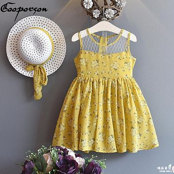 Girls dress + HAT 2 pcs Baby Girl Summer Dress For Kids Girl Outfits Yellow Floral Dress Fashion Sweet Princess kids clothes