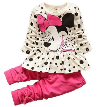 Baby Girls Cartoon Minnie Dot T Shirt Legging Pants Suits Children Clothes Toddler Kids Clothing Sets Girls Sport Causal Clothes