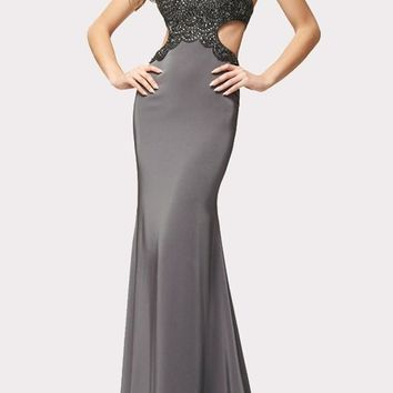 Grey Patchwork Cut Out Sequin Halter Neck Mermaid Maxi Dress