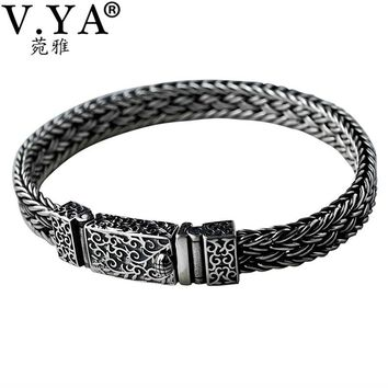 V.YA Cool 925 Sterling Silver Wide Heavy Bracelets for Men Weave Design Male Bracelet Thai Silver Jewelry 21cm 22cm Hot Sale