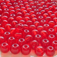 Lot of 25 8mm Czech glass big hole beads, Ruby Red smooth round druk beads with 2mm holes C8201