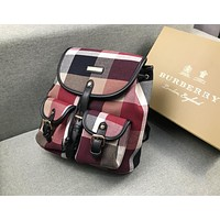 BURBERRY Trending Woman Men Stylish Leather Travel Bookbag Shoulder Bag Backpack Red