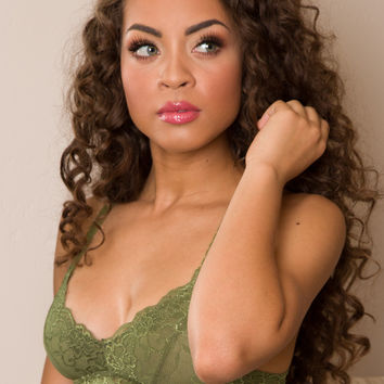 Up All Night Lace Bralette - Olive