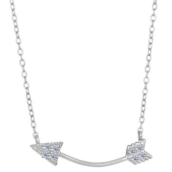 Sterling Silver With Cz Sideways Curved Arrow Fashion Necklace - 18 Inch