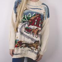 Vintage Sleigh Ugly Christmas Sweater