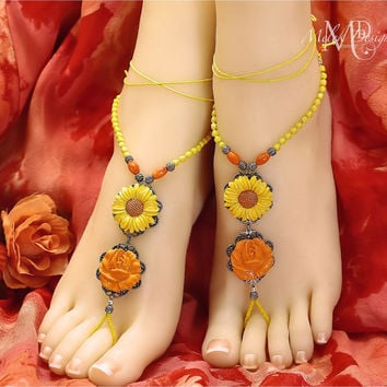 Yellow Coral Beaded Barefoot Sandals