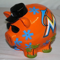 MLB Miami Marlins Resin Large Thematic Piggy Bank