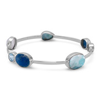 Sterling Silver Larimar, Topaz, Aquamarine and Moonstone Bangle