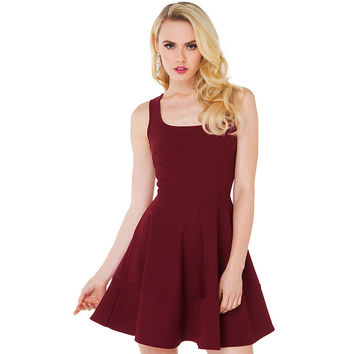 Red Wine Sleeveless Mini Dress