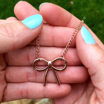 Bow Necklace, Rose Gold Bow Necklace