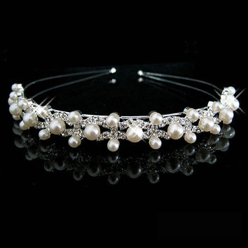 New Shiny Crystal Rhinestone Pearl Headband Silver Wedding Party Tiara Hair bands Bridal Hair Accessories Flower Girls Hairwear