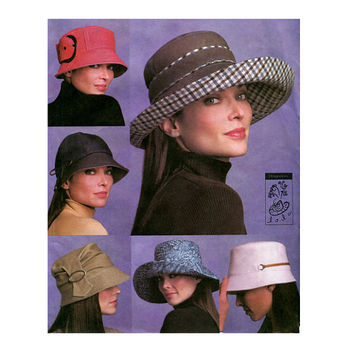 VOGUE HAT PATTERN Bucket Hat Patterns Wide Brim Hats Caps Vogue 7918 Lola Designer Hats UNCuT Millinery Accessories Womens Sewing Patterns