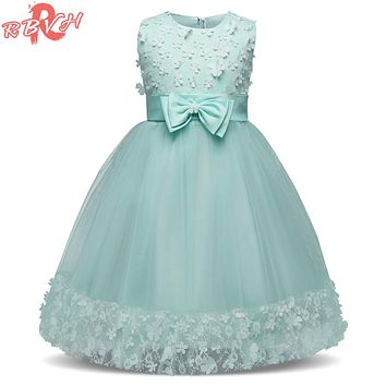 Flower Girl Princess Petals Dress Little Baby Wedding Dresses Infant Party Dress Girl Children Graduation Gown